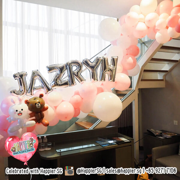 Girl 1st birthday party balloon decoration