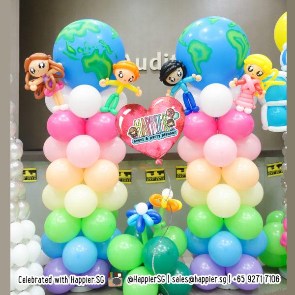 Pastel Rainbow Balloon Column Decoration