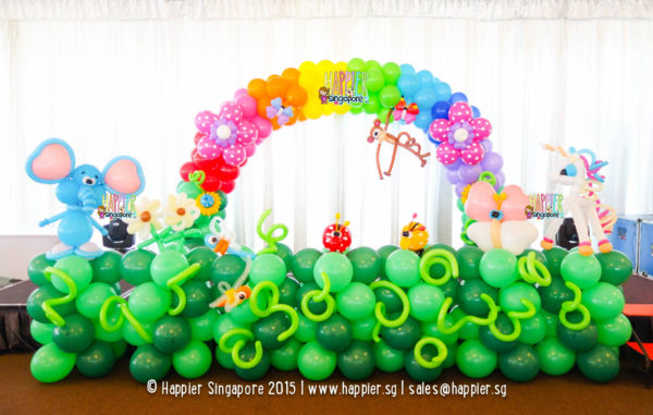 Rainbow garden stage balloon arch and landscape decoration