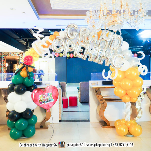 Grand Opening Champagne Balloon Arch