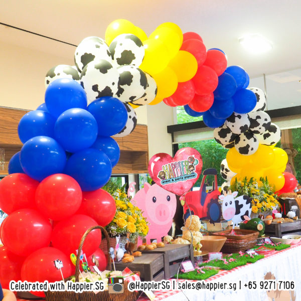 Farm animal cow print balloon arch