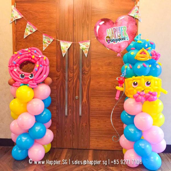Shopkins-donut-cupcake-balloon-columns-pillars